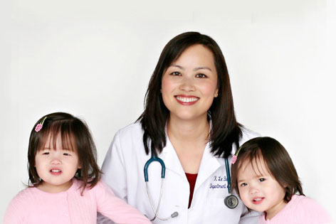 Dr. Khanh-Van Le-Bucklin with her twins